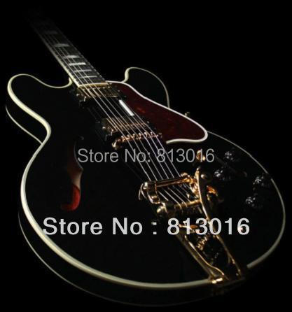 (Free shipping!) ES-335 Jazz Black  Electric guitar, Gold parts. black knobs. tamrac jazz 36 black