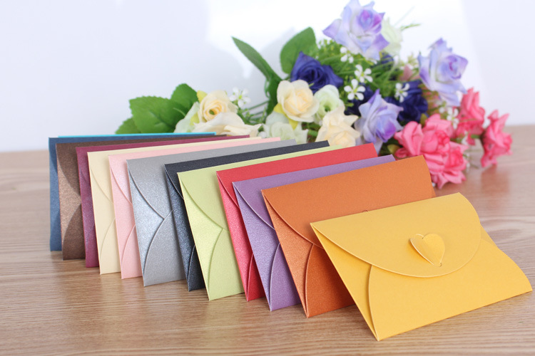 5p/lot Large Size 11*17.5cm Heart Clasp Envelopes Retro Paper Envelopes Vintage Wedding Envelope Colorful Gift Envelopes