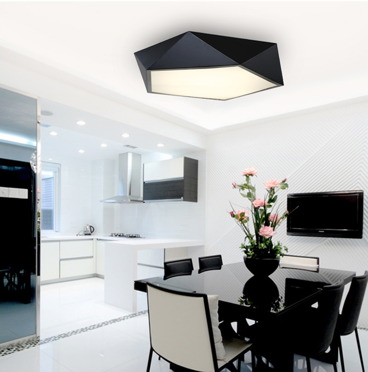 HTB1L515aGmWBuNkHFJHq6yatVXa0 Ultrathin Modern LED ceiling lights simple home deco fixtures Bedroom dining living room iron black white pentagon ceiling lamp