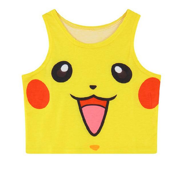Pokemon Pikachu chaleco Cosplay traje Bulbasaur 3D dibujos animados verano Sexy sin mangas Camiseta corta superior Jigglypuff camisa
