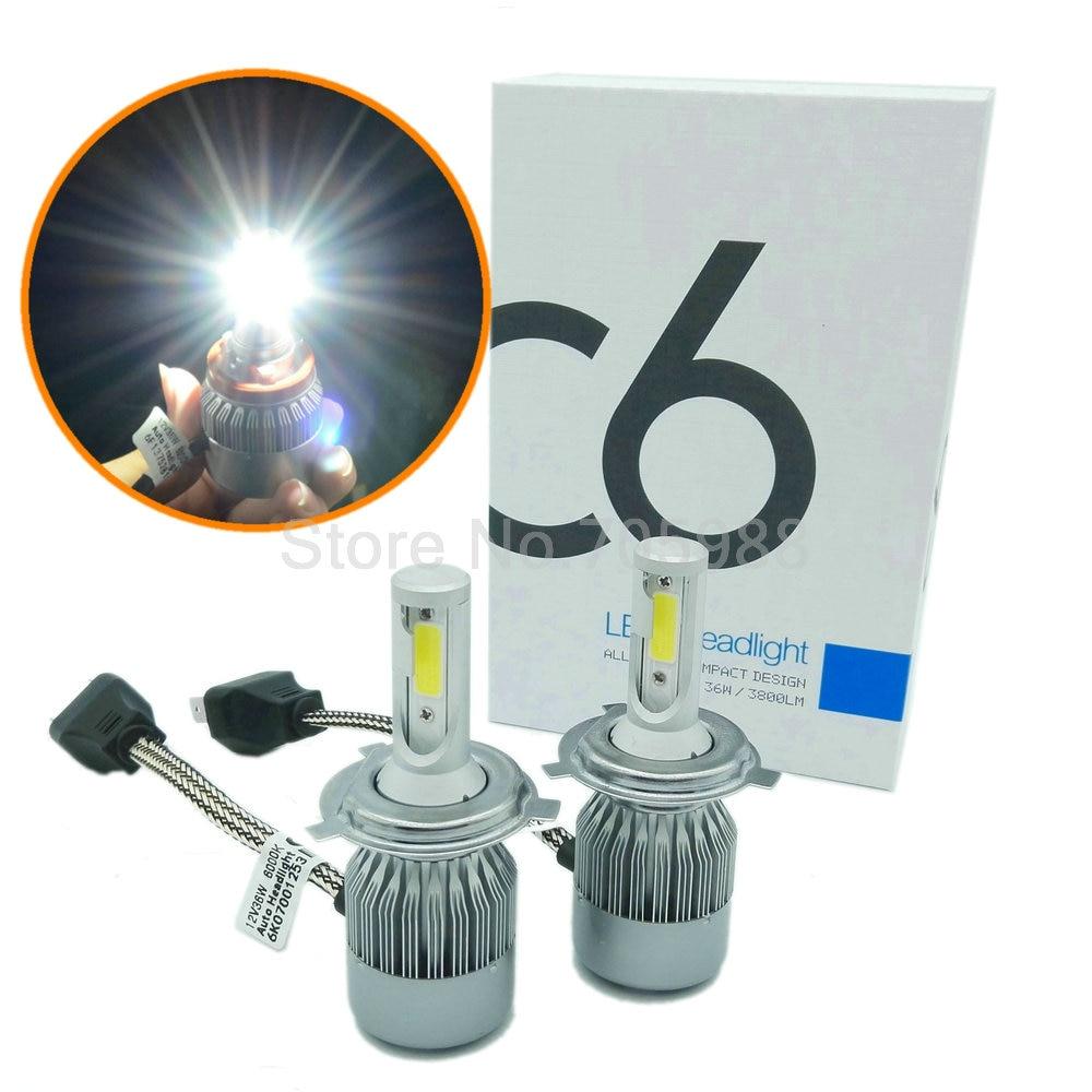 Prix pour COB 72 W 7600LM H4 LED Headligh haute et faible faisceau salut/bas Auto projecteur voiture LED Kit DRL brouillard lumière 9007 9004 h13 h7 h11 h8 CE ROHS