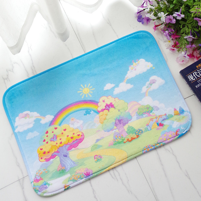 Children Bedroom Bed Front Cartoon Flannel Carpet Land Pad Shower Room Doorway Door Stepping Pad Throw : door stepping - Pezcame.Com