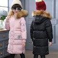 Moda da Menina Casaco Longo Para Baixo Casacos Rússia Inverno Outerwears Grossas Crianças Jaqueta de Pato Para Baixo Com Capuz De Pele Real-30 graus Jaqueta
