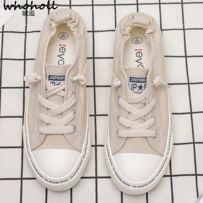 WHOHOLL Women Canvas shoes Sneakers 2019 Hot Solid Lace up Superstar casual Shoes for Girls Non slip Size 35 39 Zapatillas mujer in Women 39 s Vulcanize Shoes from Shoes