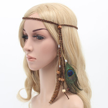 Retro Bohemian peacock feather headdress with cord headband and headband цена 2017