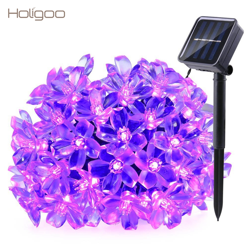 Holigoo Solaire Jeu de Lumières, cerise Blossom 21ft 50 LED Décoration Extérieure Éclairage pour Intérieur/Extérieur Patio Jardin De Noël