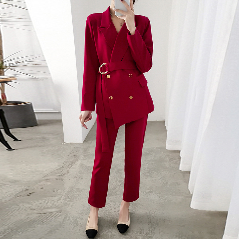 New Arrival Women Plus Size 5XL Pant Suit Professional Temperament Fashion Oversized Suit Belt Waist Pant Comfortable Pant Suits