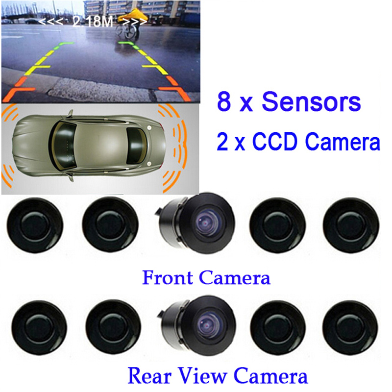 New Dual Channel Video Car Parking Sensors Reverse Radar System 8 Sensor with Front & Rear view Camera For Parking Assist for ford escape maverick mariner car parking sensors rear view back up camera 2 in 1 visual alarm parking system