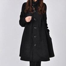 Autumn Winter New Women's Woolen Coat Female Single-breasted Windbreaker Winter Cloak Knit Long-slee