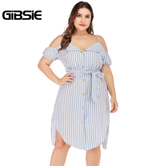 GIBSIE Plus Size Button Front V-neck Spaghetti Strap Striped Midi Dress 2019 Summer Women Boho Casual Irregular Dress with Belt
