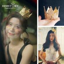 Himstory Baroque Vintage Gold Rhinestone Round Crown Mini Leaf Bride Wedding Birthday Party Evening  Hair Accessories