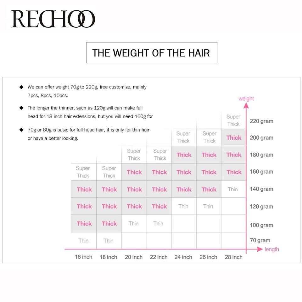 Rechoo Body Wave 100% Echthaar Clip in Verlängerungen Full Head Set - Menschenhaar (für Weiß) - Foto 5
