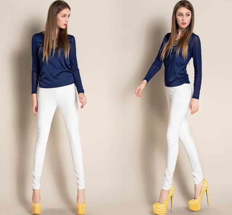Leggings winter Women High Waist PU Leather Legging Slim Faux Pants Female Fashion Warm Leggings Women 9