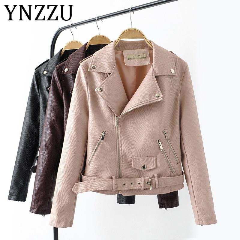 YNZZU PU   Leather   Jacket Women Moto Biker Coat 2019 Autumn Short Faux   Leather   Jackets Female Streetwear Fashion Outerwear A1017
