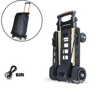 Upgrade Shopping Cart with Gift Rope, Household Sturdy Trolly, Lightweight 1.3KG Mini Cart, Aluminum alloy Shopping Cart