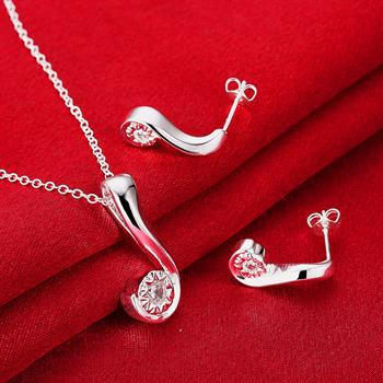 Another silver question mark two - piece necklace earrings suit jewelry wholesalers LKNSPCS849