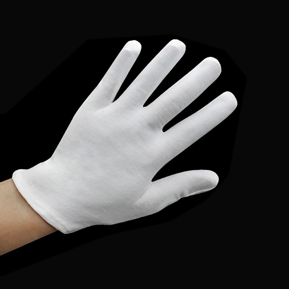 Black gloves white magic - 12 Pairs White Inspection Cotton Lisle Work Gloves Coin Jewelry Lightweight New China Mainland