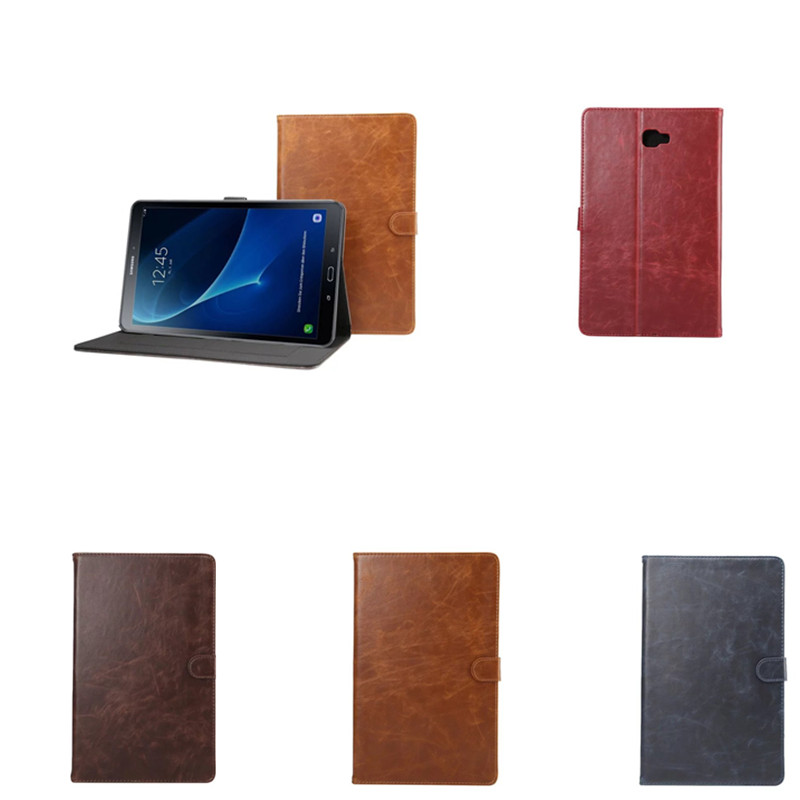 DS Flip  Crazy Horse pattern shell skin Stand PU Leather Cover For Samsung Galaxy Tab A A6 10.1 2016 SM-T580 SM-T585 Tablet case crazy horse pattern pu leather cover with card slots for samsung galaxy tab s3 9 7 t820 t825 fashion flip case with stand