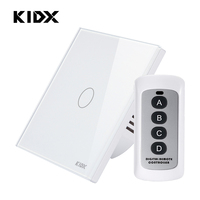 1 Gang 1 way EU Standard Touch Screen Smart Switch 170 240V RF433 remote controi Light Touch Switch waterproof Tempered Glass
