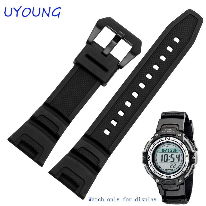 Black Silicone Rubber Waterproof Strap For C Asio Sgw-100 Watchbands Smart Watches Accessories Strap Bracelet