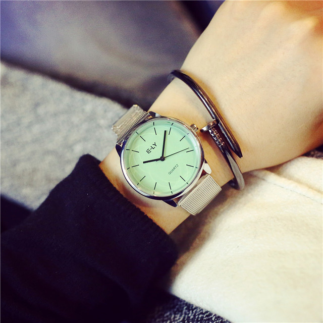 bracelet mint crystal gold ladies leather item watch luxury green round dress watches dial