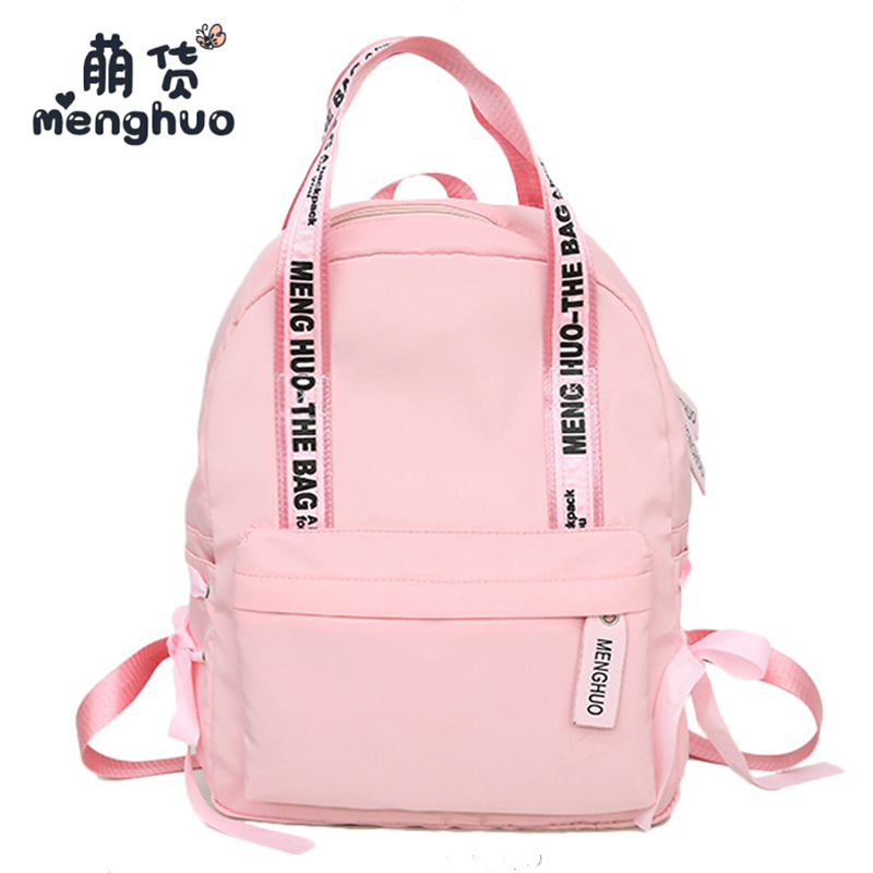 MENGHUO Large Capacity Backpack Women Nylon Preppy School Bags For  Teenagers Female Travel Bags Girls Bowknot Backpack Mochilas 88ed7f5e41b51