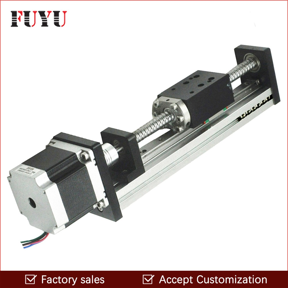 US $121 55 15% OFF|150mm linear guide rail stage actuator with nema 23  stepper motor G1605 ball screw for cnc linear motion slide-in Linear Guides