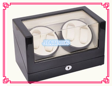 New four+zero Automatic Wooden Black + White Watch Winder Storage Display Case Box Rotate Leather