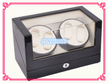 New 4+0 Automatic Wooden Black + White Watch Winder Storage Display Case Box Rotate Leather