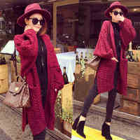 New Korean Fashion Winter Lady Sweaters Coarse Fried Twist Thick Sweater Knitting Korea Bats Wing Sleeve Knitwear Long Cutout