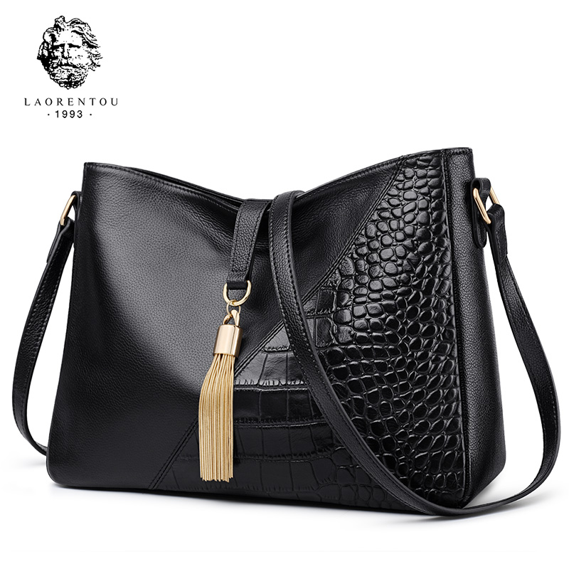 Laorentou Women Bags Genuine Leather Messenger Bags Valentine's Day Present for Female Retro Alligator Zipper Lady Shoulder Bags