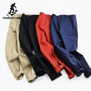 Image 2 - Мужские повседневные брюки Pioneer Camp, однотонные Стрейчевые классические брюки зауженного покроя, темно синего цвета и цвета хаки, одежда для мужчин размера плюс