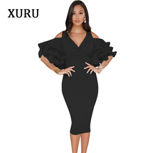 XURU White Black Pink Yellow Cold Shoulder Dress Cascading Ruffle Elegant Pencil Dresses Womens Party Casual Fashion Dress 2018
