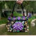 Mujeres del Diseño de marca Bolso de la Tendencia Nacional Del Bordado de Doble Cara Floral Hecho A Mano Del Bolso de Las Señoras de Asas Casual Bolsas de Hombro