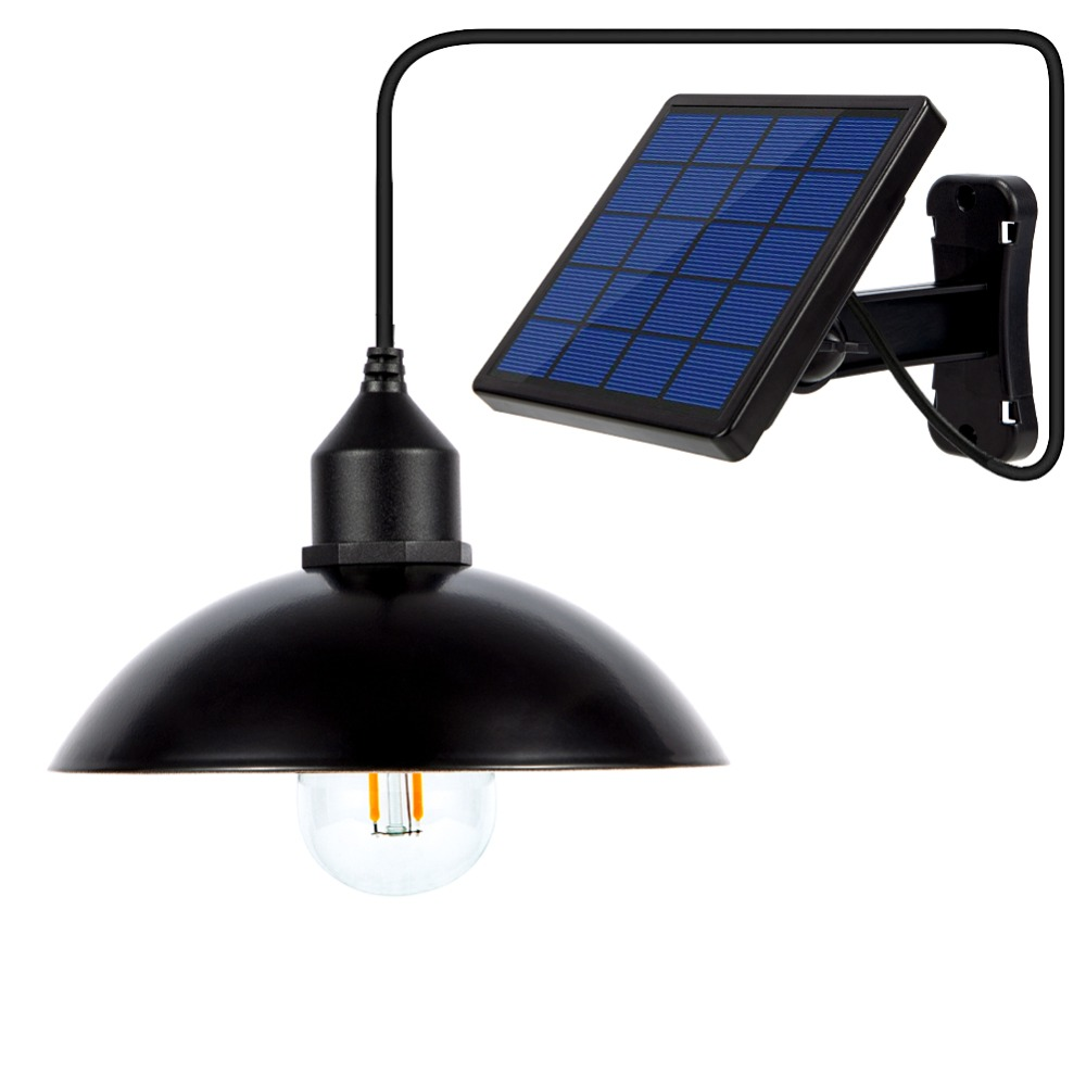 Garden Solar Light Retro Bulb Chandelier Solar Powered Pendant Lights With 9.8FT Cord Lamp With Solar Battery Hanging Lighting