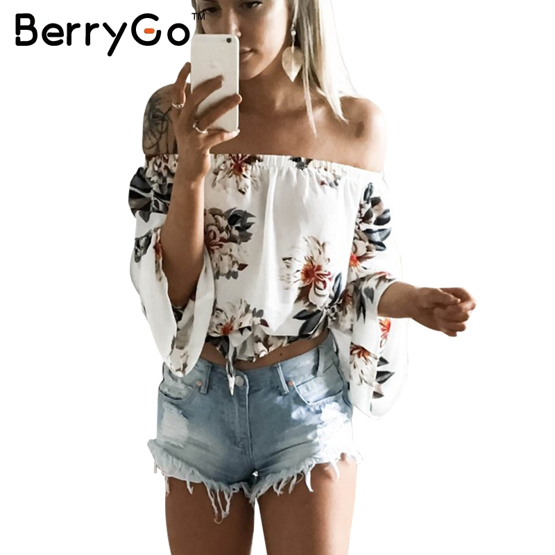 BerryGo Floral Print Chiffon Blouse Women Tops Off Shoulder Halter Cool Long Sleeve Female Blouse Shirt