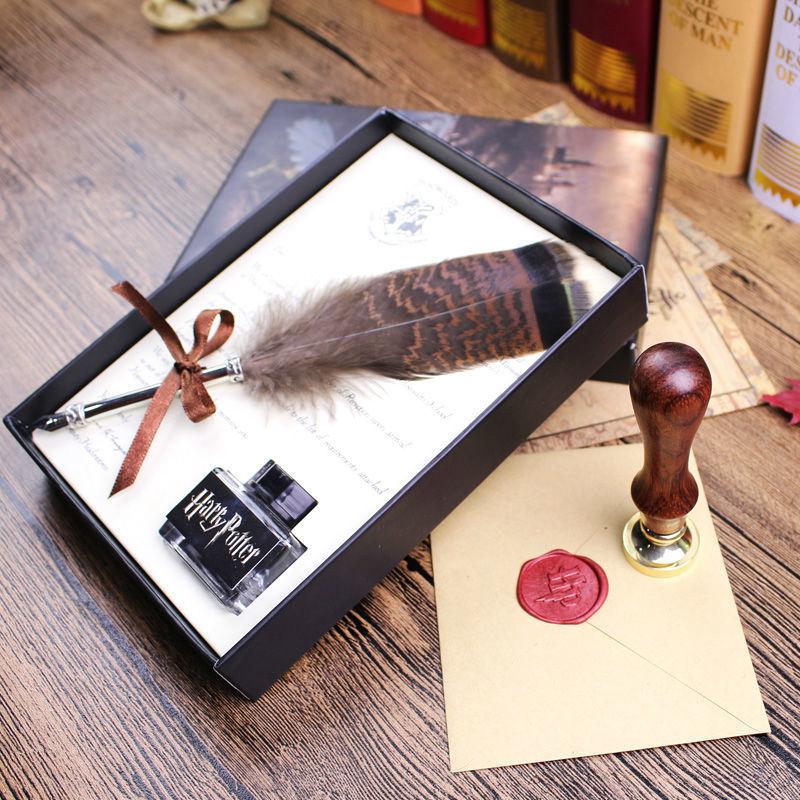 Harry Potter Penna Della Piuma Con Hogwarts Scuola di Ammissione Lettera, hanno sigillo di cera stamp set per scegliere