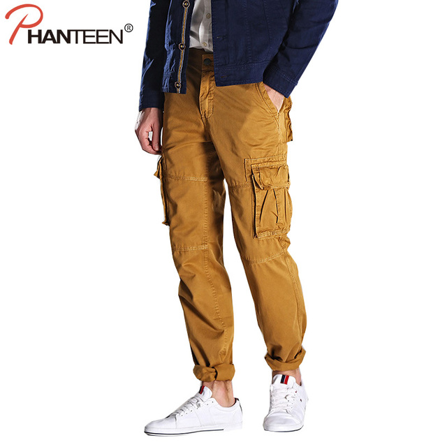 Phanteen otoño ocasional del algodón hombre pantalones rectos flojos pantalones de carga de alta calidad exterior moda hombre pantalones asiático más tamaño