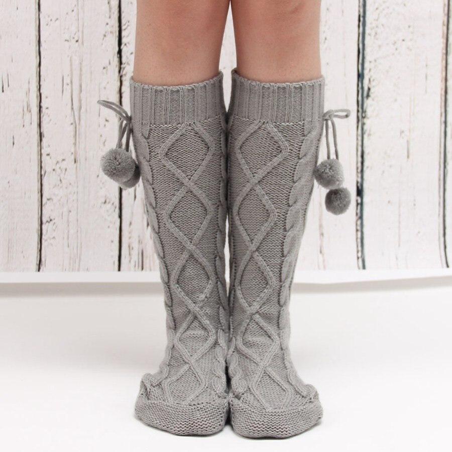 Knitting Pattern For Ladies Long Socks : Socks for Home Winter Warm Women Long Knitted Bed Socks ...