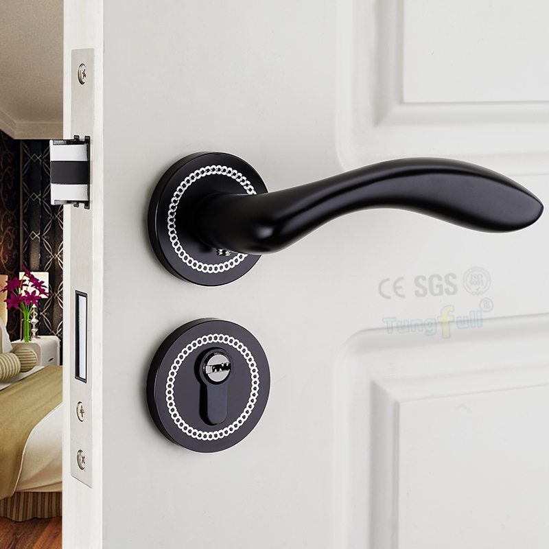 ФОТО German Modern Style Minimalist Black Diamond Interior Room Door Lockset Mechanical Split Locks Handle Lock