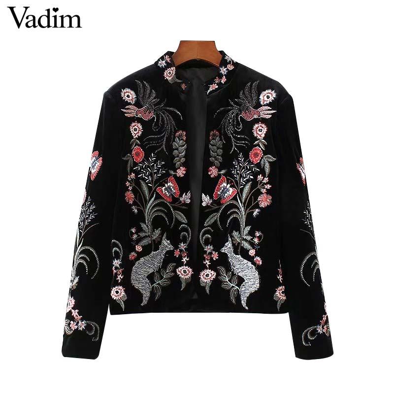 Vadim vintage bloemen vogel borduurwerk fluwelen jassen open stitch ontwerp  lange mouwen retro casual jas bovenkleding tops CT1545 in Vadim vintage  bloemen ...