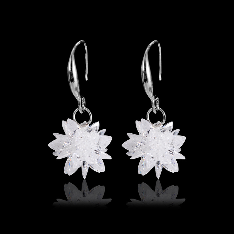 2018 new 925 silver Earrings Female Crystal from Swarovski New woman snow glob name earrings Twins micro set hot Fashion jewelry