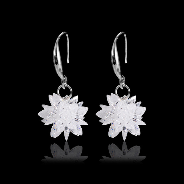 2019 new 925 silver Earrings Female Crystal from Austrian New woman snow glob na