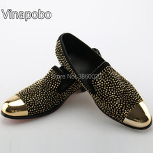 Vinapobo Slip-on Casual Loafers Mens Sparkling Rhinestone Spikes Men Shoes  Gold Toe Crystal Flats Men Wedding Shoes Black  Red 129942140ea1