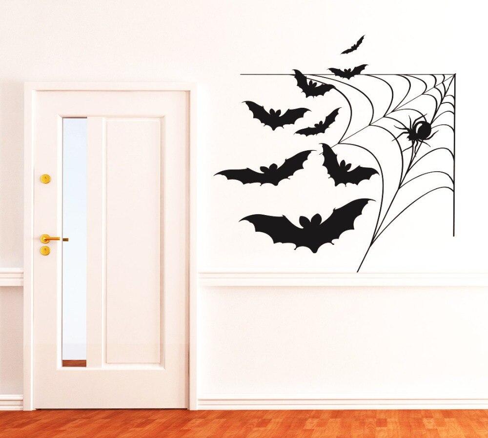 Spider Web With Bats Cool Vinyl Wallpaper Waterproof Wall