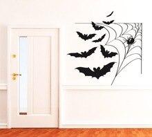 Spider Web With Bats Cool Vinyl Wallpaper Waterproof Wall Mural Happy Halloween Home Bedroom Special Decor Art Decals Q-42