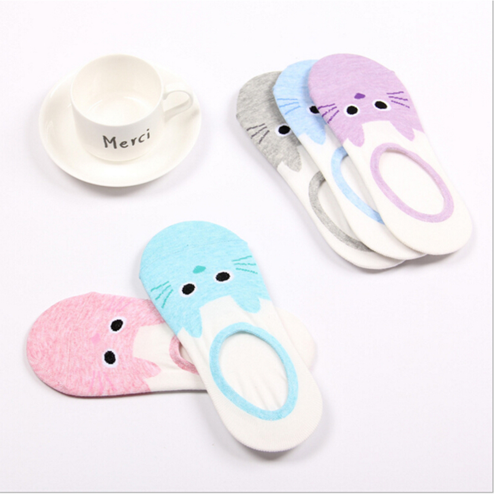 hot cute cartoon cat boat sock women summer animal funny sock girls low cut sweet sokken invisible candy slipper cheap sale sox