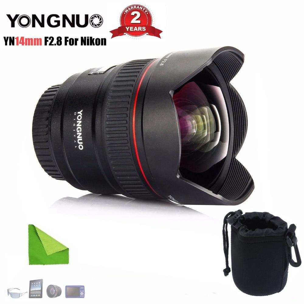 YONGNUO objectif principal Ultra grand Angle YN14mm F2.8N monture métallique à mise au point automatique pour Nikon D7100 D5300 D3200 D3100 appareils photo reflex numériques