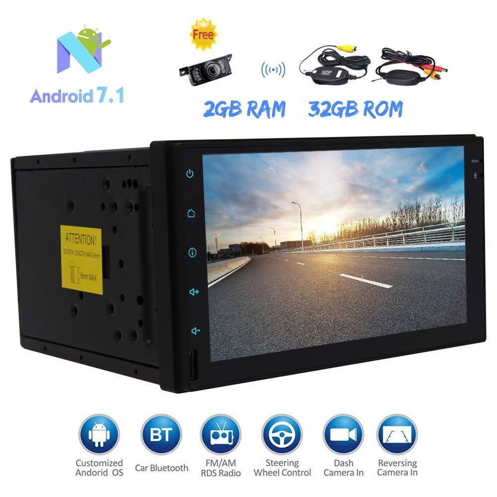2Din Car Stereo GPS Navigation 2din Android 7.1 Touch Screen Autoradio Head Unit FM/AM RDS Radio WIFI DAB+ OBD2 SWC+Wireless Cam