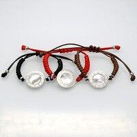 חמה למכירה לבנה פגז מספר עגול פלדת טיטניום אדום/שחור/חום צבע צמידי חבל